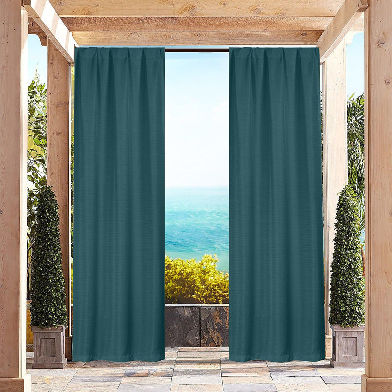 Heavy-Textured Indoor-Outdoor Blackout Curtains Pair Panel Lighting & Decor Teal - DailySale