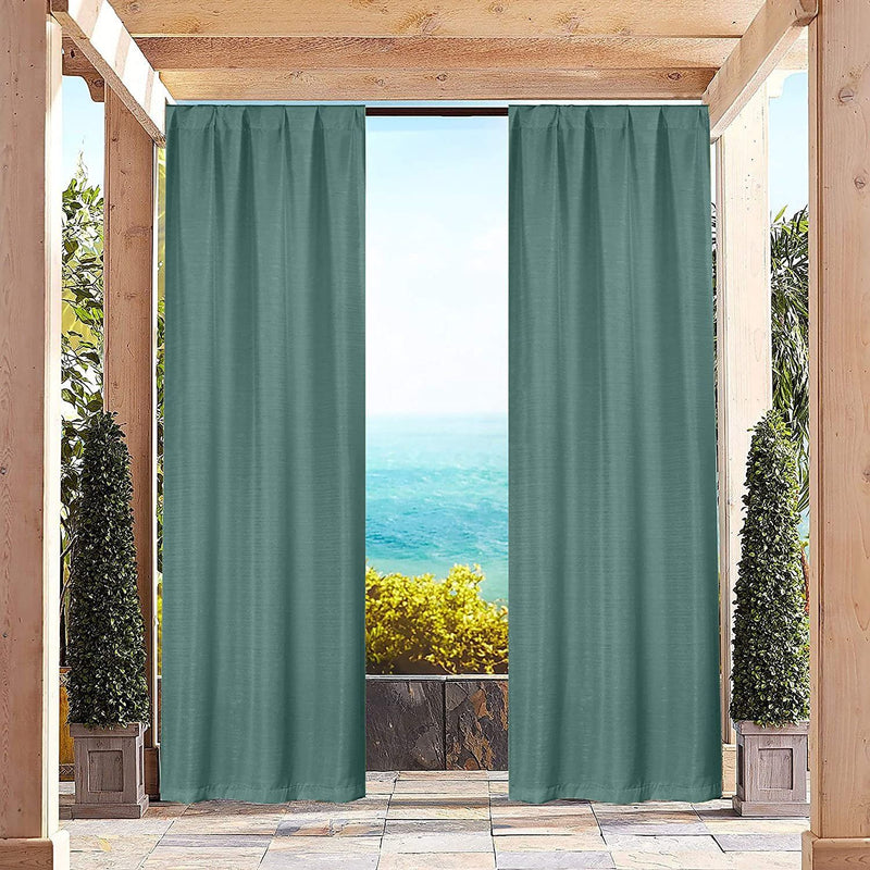 Heavy-Textured Indoor-Outdoor Blackout Curtains Pair Panel Lighting & Decor Turquoise - DailySale