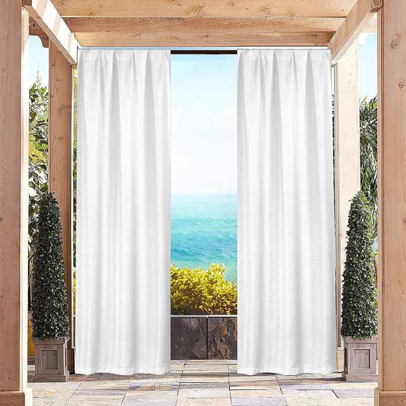 Heavy-Textured Indoor-Outdoor Blackout Curtains Pair Panel Lighting & Decor White - DailySale