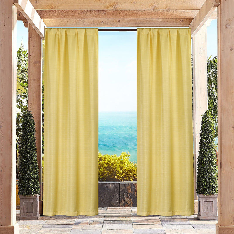 Heavy-Textured Indoor-Outdoor Blackout Curtains Pair Panel Lighting & Decor Yellow - DailySale