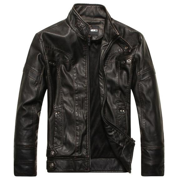 High Quality Fashion Leather Jacket Men's Clothing Black M - DailySale