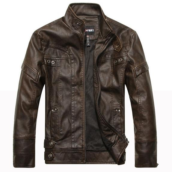 High Quality Fashion Leather Jacket Men's Clothing Dark Brown M - DailySale