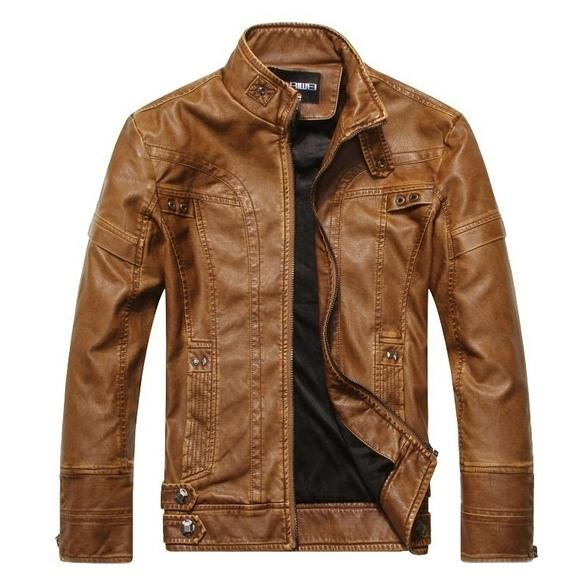 High Quality Fashion Leather Jacket Men's Clothing Light Brown M - DailySale