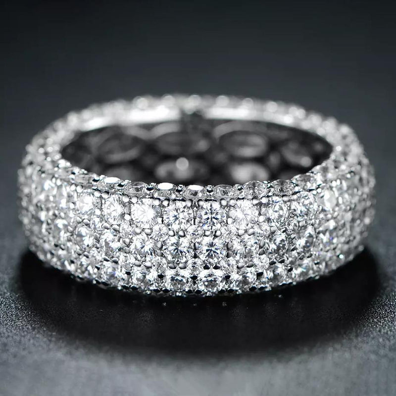 Hobart 18k White Gold Plated Seven Row Eternity Ring Rings 5 - DailySale