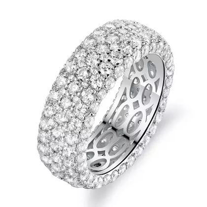 Hobart 18k White Gold Plated Seven Row Eternity Ring Rings - DailySale