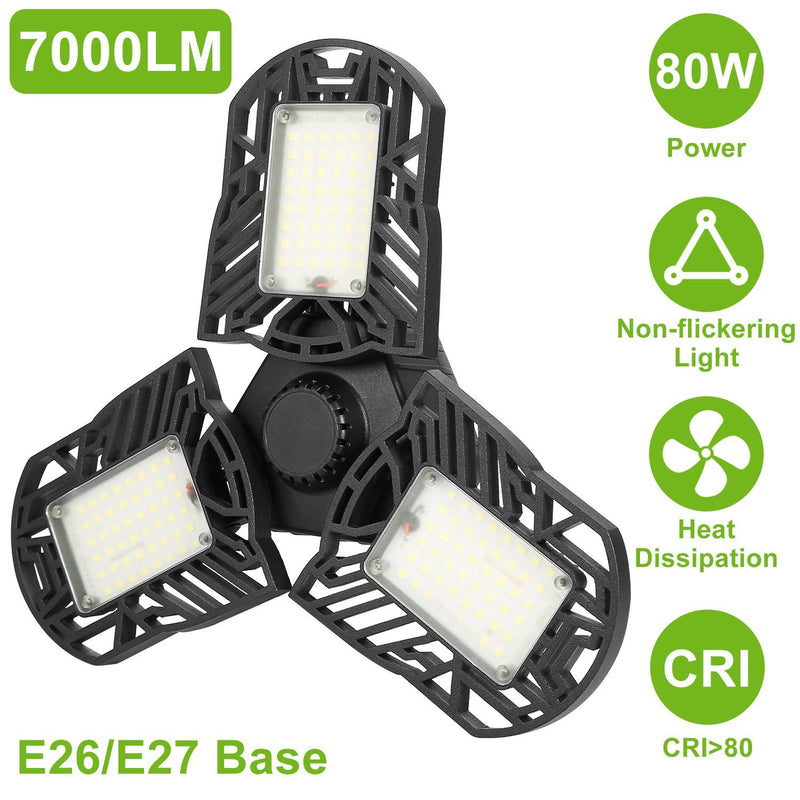 iMounTEK E26 /E27 80W 7000LM 6500K LED Garage Ceiling Light Lighting & Decor - DailySale