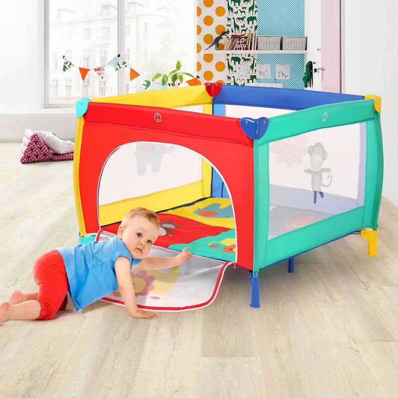 Infant Toddler Foldable Playpen Playard Mattress Safety Rail Fence Baby - DailySale