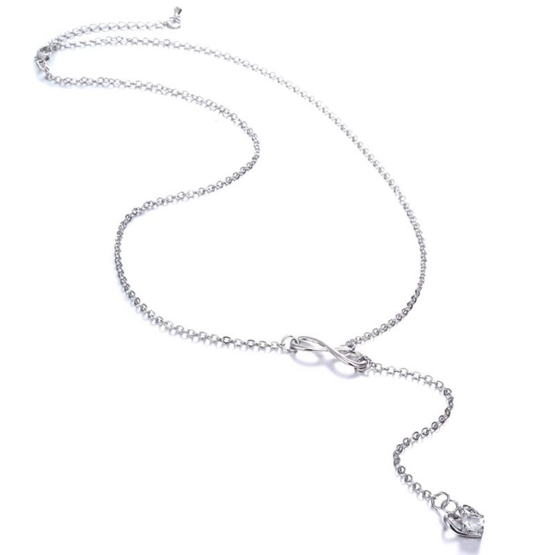 Infinity Heart Crystal Lariat Pendant Necklace Jewelry - DailySale