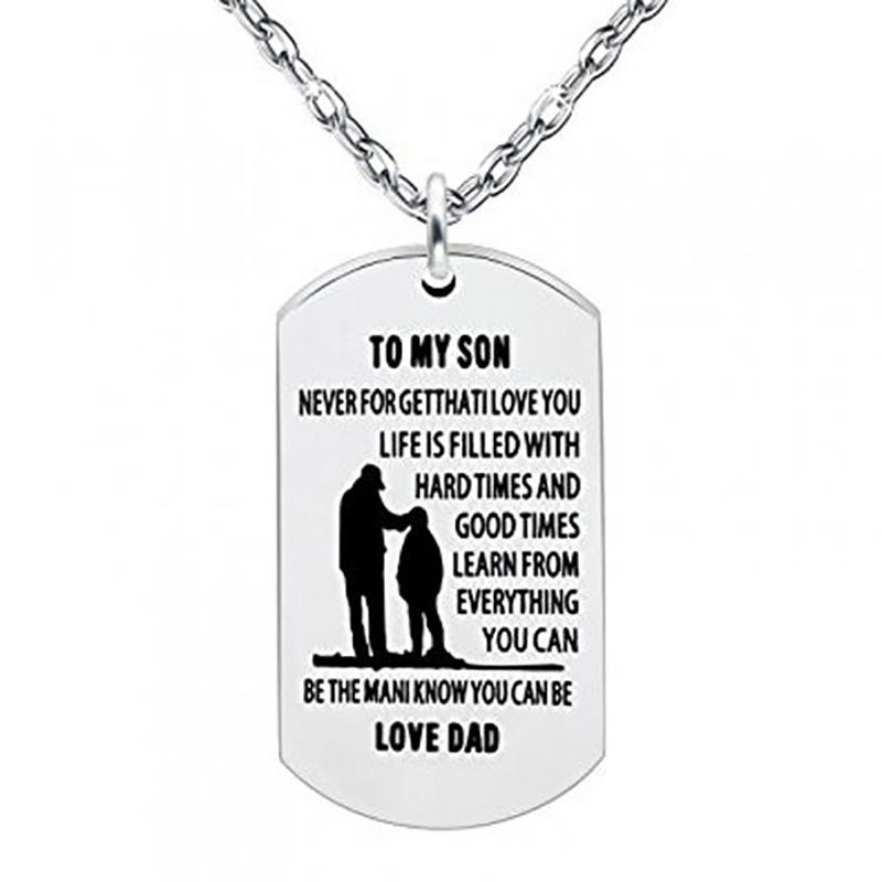 Inspirational Always Remember Son Pendant Necklace Dog Tag Jewelry - DailySale