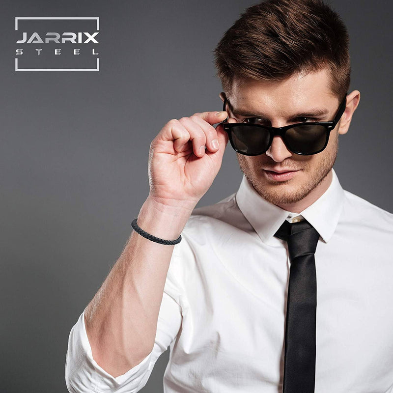 Jarrix Steel Men's Bracelet Leather Stainless Steel Magnetic Closure Men's Accessories - DailySale
