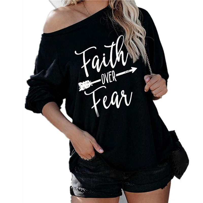 Jawint Womens Faith Over Fear Long Sleeve T-Shirt Women's Clothing Black S - DailySale