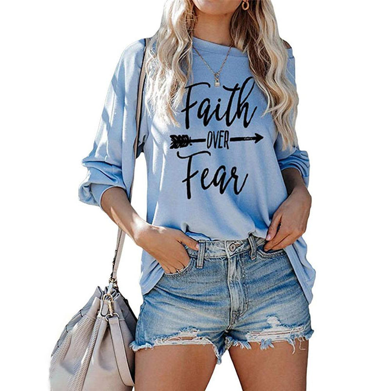 Jawint Womens Faith Over Fear Long Sleeve T-Shirt Women's Clothing Blue S - DailySale