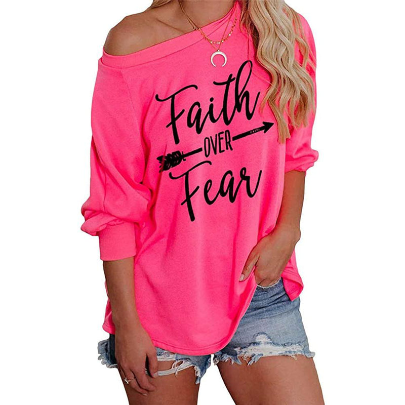 Jawint Womens Faith Over Fear Long Sleeve T-Shirt Women's Clothing Pink S - DailySale