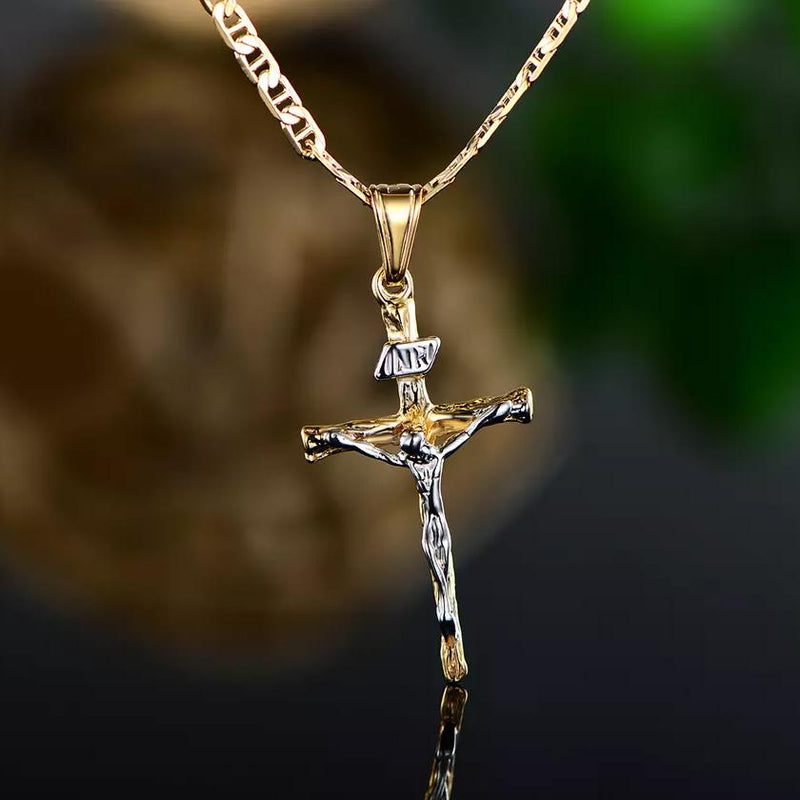 Jesus Crucifix Cross Gold Plated Pendant Necklace