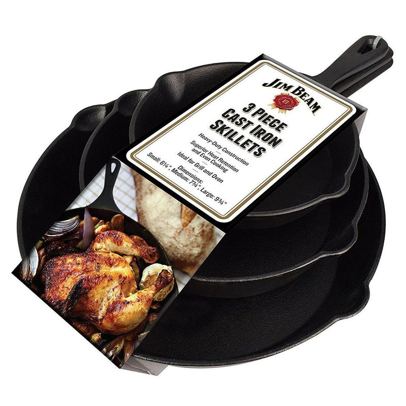 Jim Beam 3-Piece Cast Iron Skillets Kitchen Essentials - DailySale