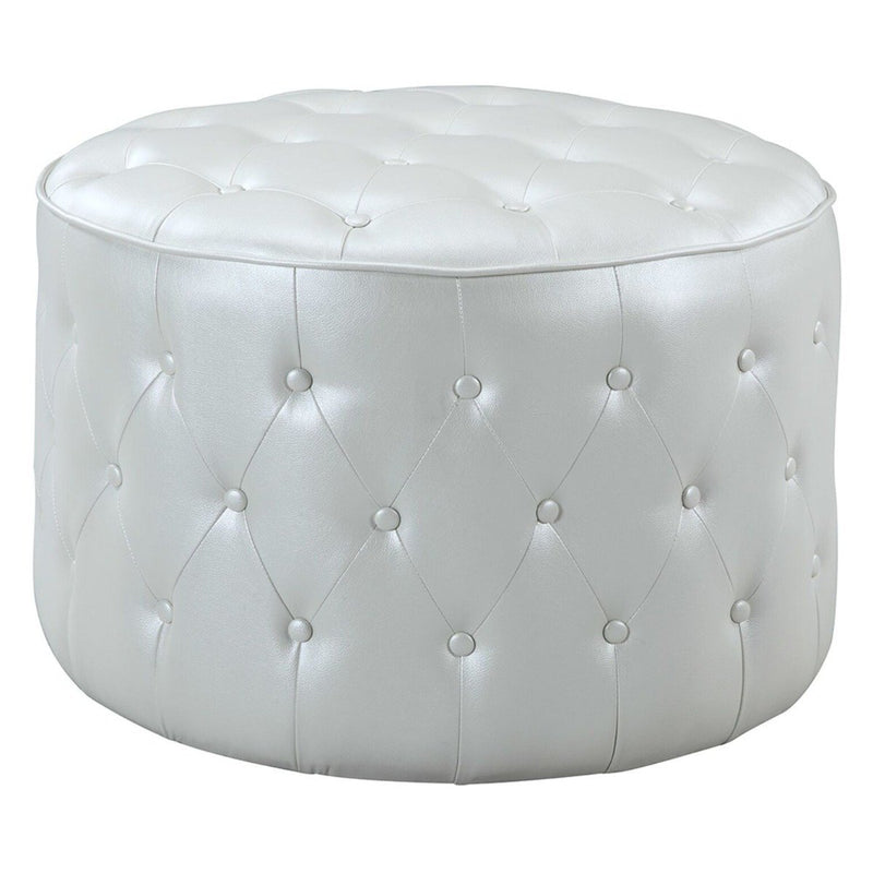 Jimmy Ottoman Button Tufted PU Leather Upholstered Round Pouf Furniture & Decor Beige - DailySale