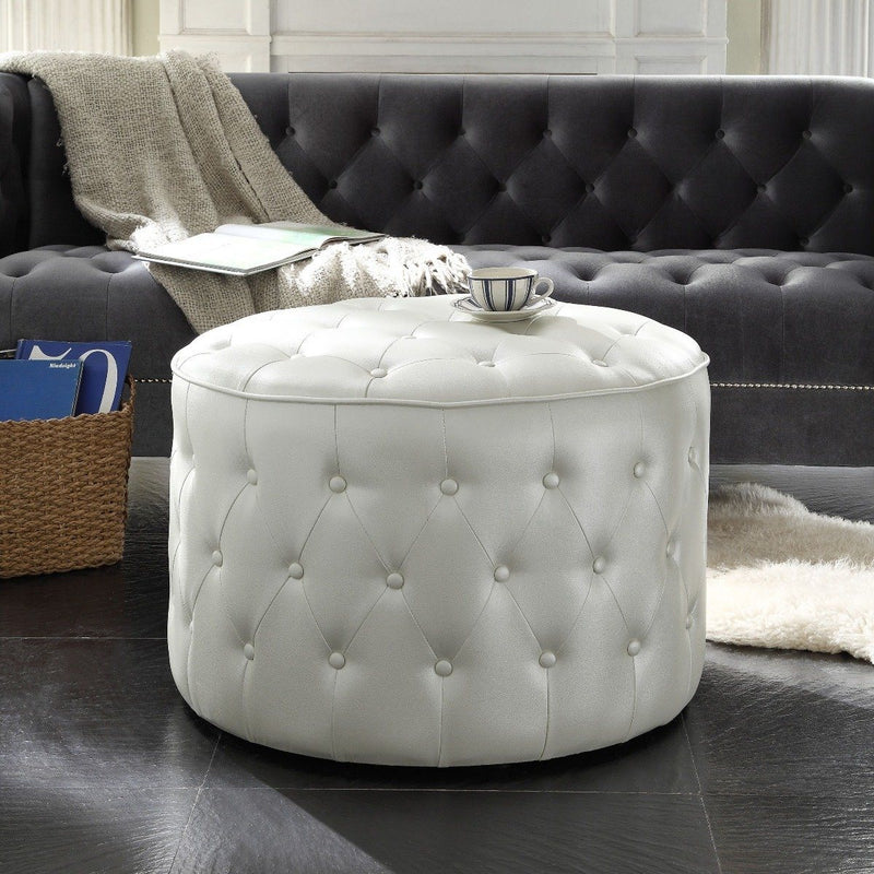 Jimmy Ottoman Button Tufted PU Leather Upholstered Round Pouf Furniture & Decor - DailySale