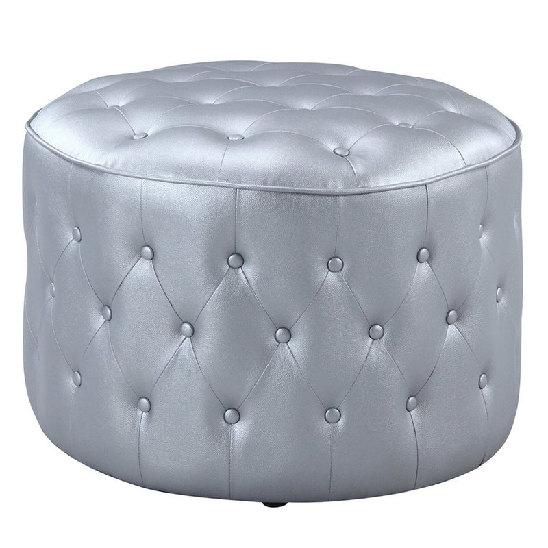 Jimmy Ottoman Button Tufted PU Leather Upholstered Round Pouf Furniture & Decor Silver - DailySale
