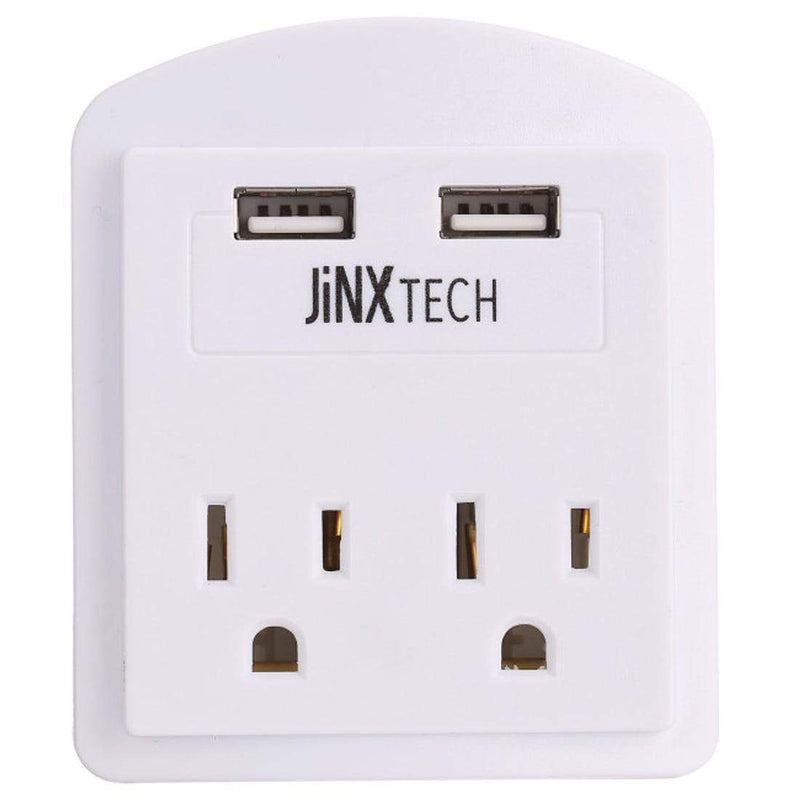 JinxTech 2-Outlet Wall Tap with Dual USB Gadgets & Accessories White 1 Pack - DailySale