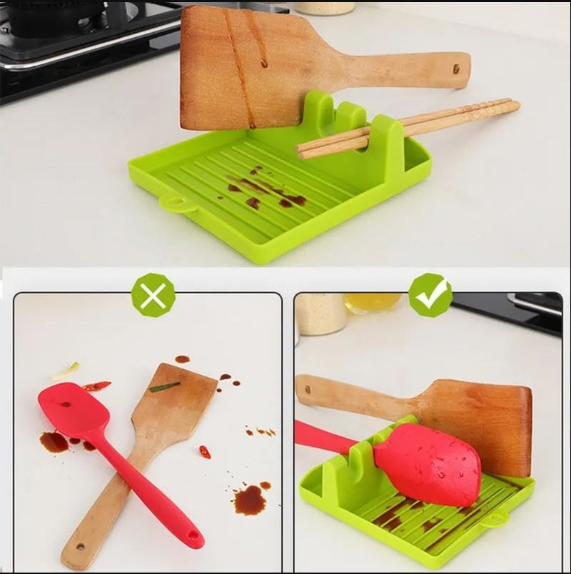 Kitchen Non-Slip Silicone Spatula Holder with Drip Pad Kitchen & Dining - DailySale