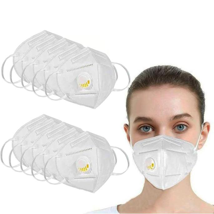 KN95 White Disposable Face Masks with Flow Exhalation Valve Wellness & Fitness - DailySale