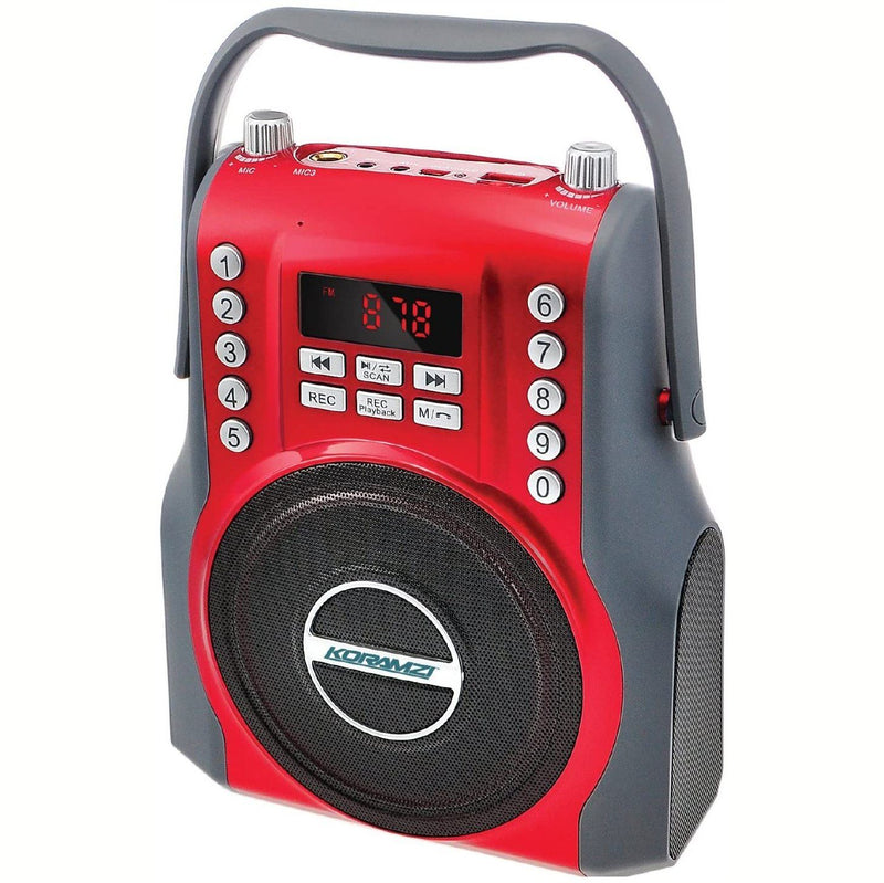 Koramzi Karaoke Portable Boombox with Bluetooth and Rechargeable Battery