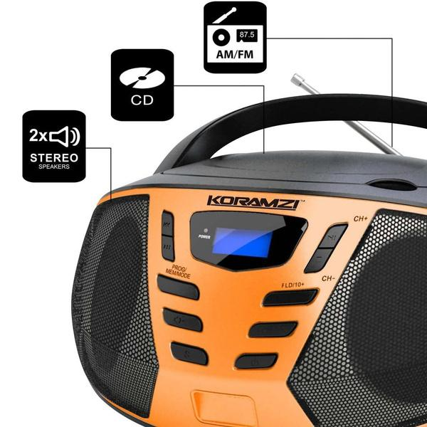 KORAMZI Portable CD Boombox with AM/FM Radio Speakers - DailySale