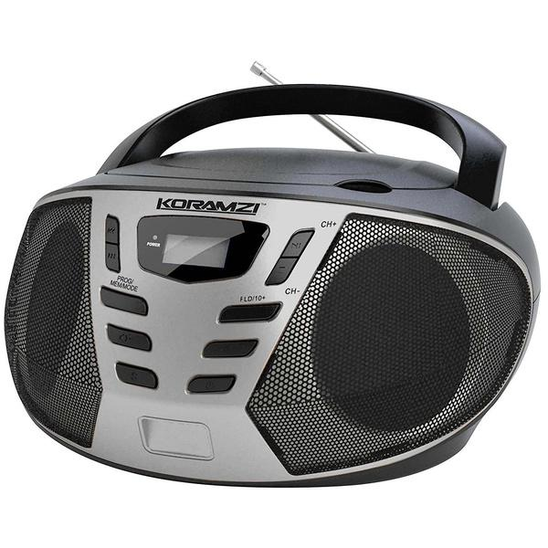 KORAMZI Portable CD Boombox with AM/FM Radio Speakers Silver - DailySale
