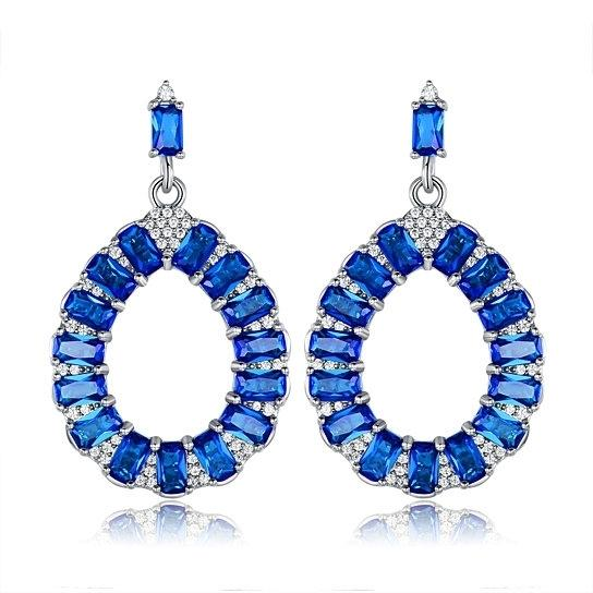 Lab-Created Teardrop Chandelier Earrings in Rhodium Plated - Assorted Colors Jewelry Sapphire - DailySale