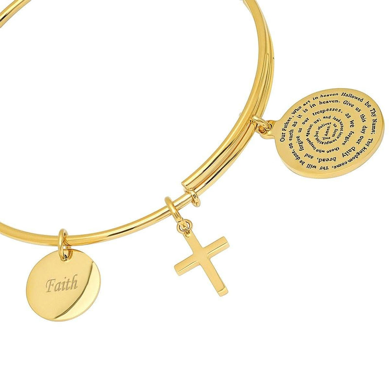 Ladies 18K Gold Plated Stainless Steel Bracelet with Our Father, Faith and Cross Charms