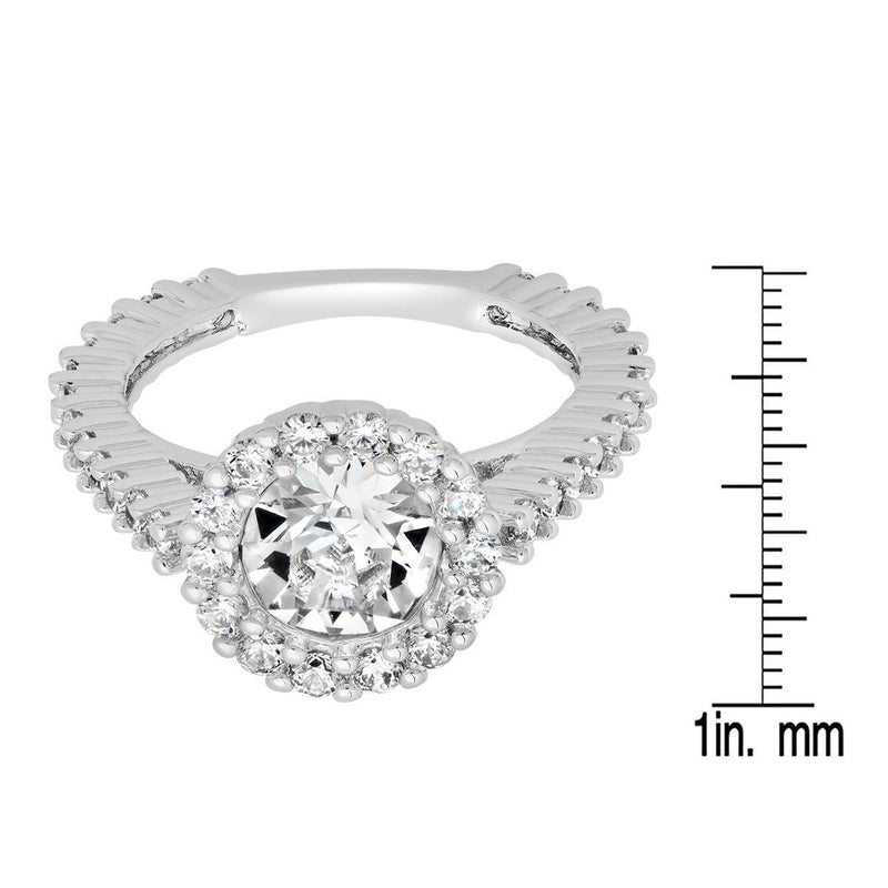 Ladies 18K White Gold Plated Brass Engagement Ring Adorned with Swarovski Crystals Rings - DailySale