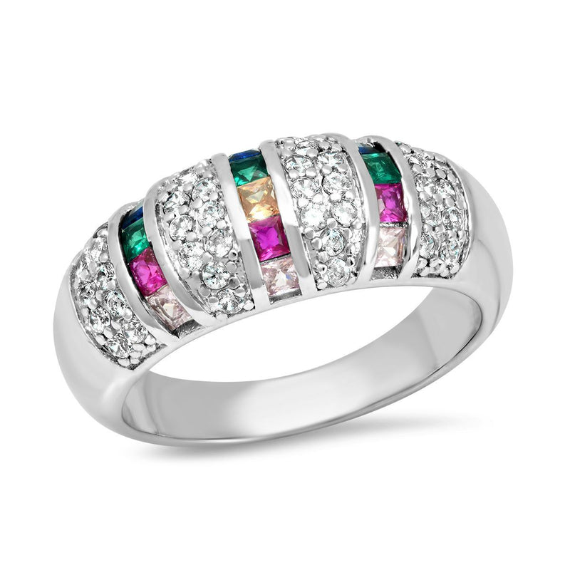 Ladies 18K White Gold Plated Brass Simulated Multi Colored Diamond Ring Rings 6 - DailySale