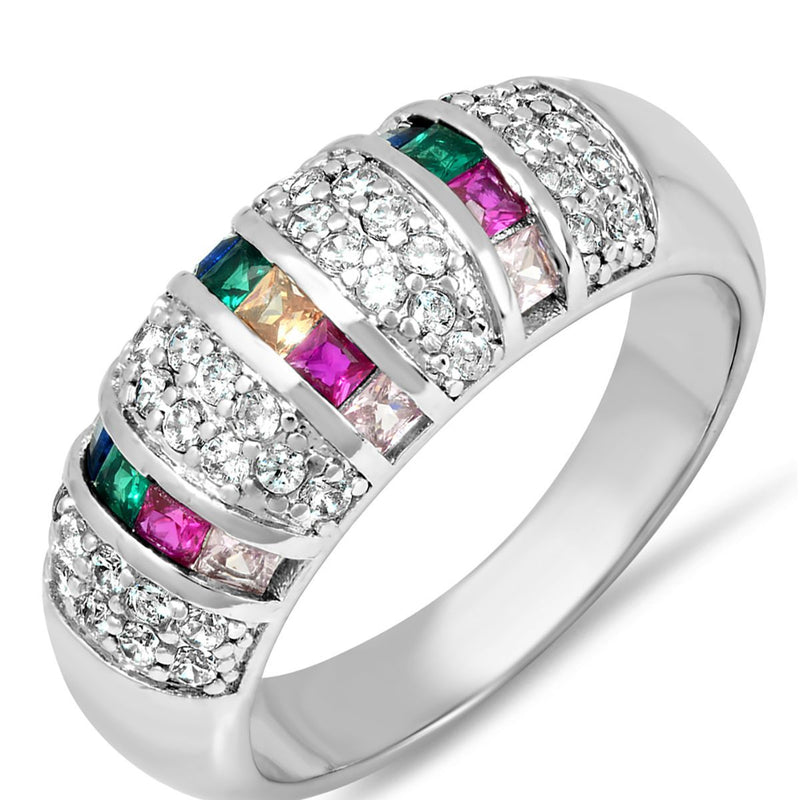 Ladies 18K White Gold Plated Brass Simulated Multi Colored Diamond Ring Rings - DailySale