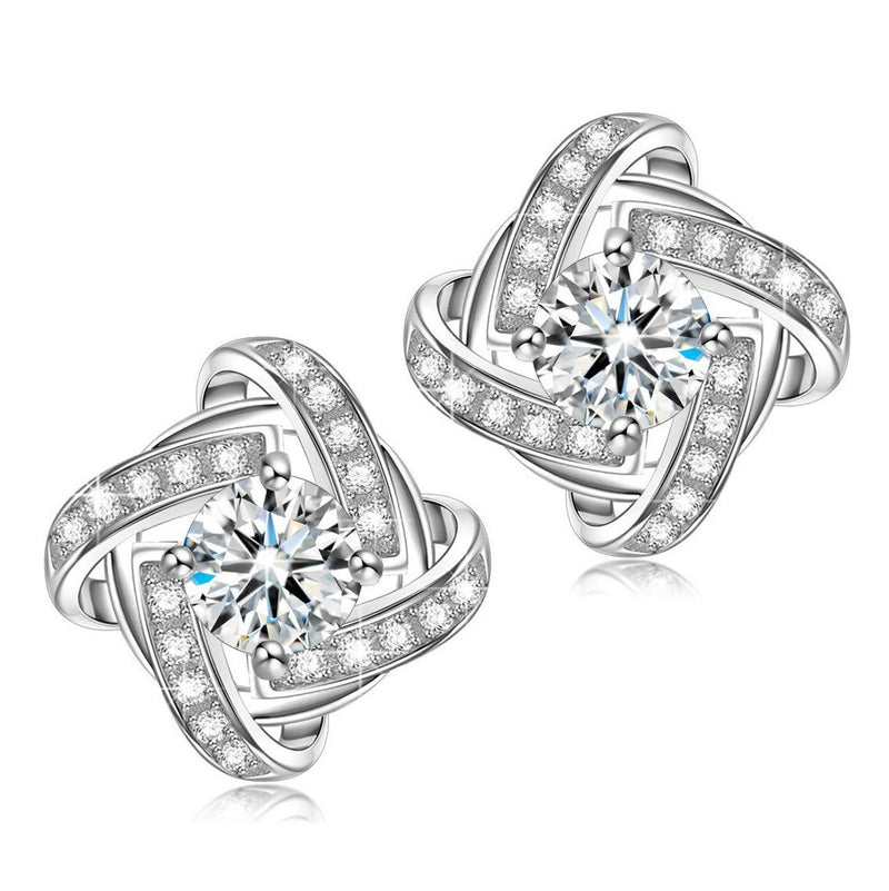 Ladies' Love Knot Crystal Stud Earrings Made with Swarovski Elements Jewelry - DailySale