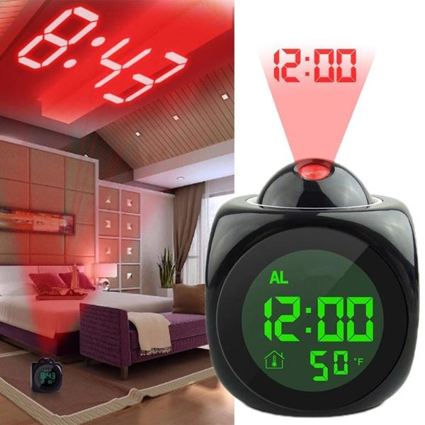 LCD Projection Alarm Clock with Voice Broadcast Function Household Appliances - DailySale
