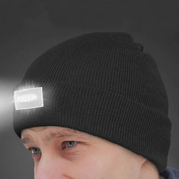 LED Headlamp Beanie for Men and Women Women's Apparel Black - DailySale