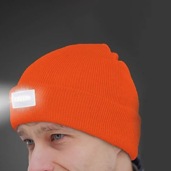 LED Headlamp Beanie for Men and Women Women's Apparel Orange - DailySale