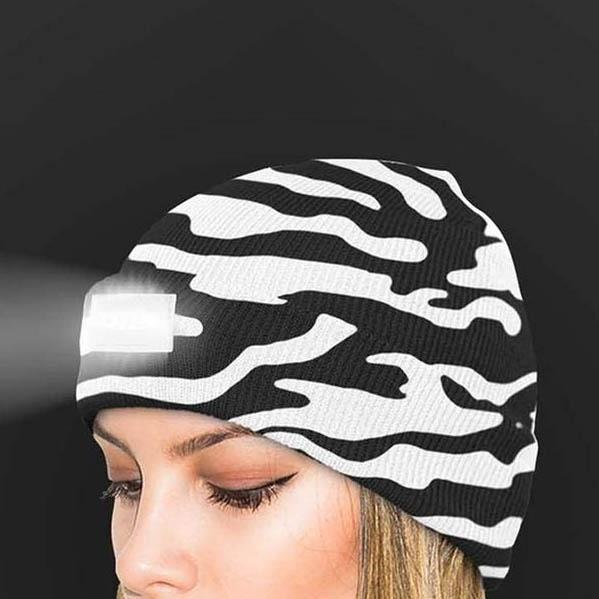 LED Headlamp Beanie for Men and Women Women's Apparel Zebra - DailySale