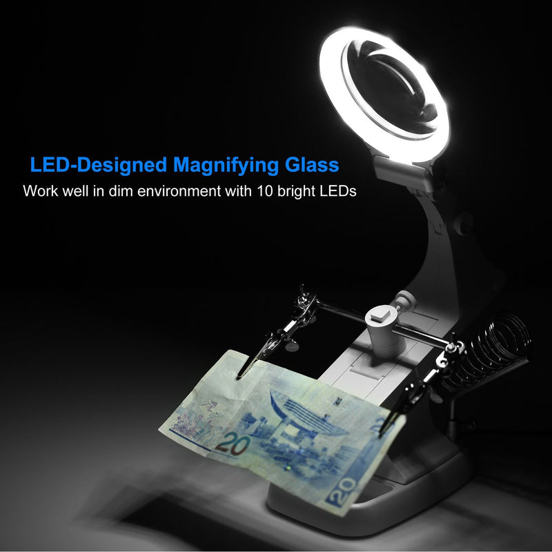 LED Lights Helping Hands Magnifying Glass Everything Else - DailySale