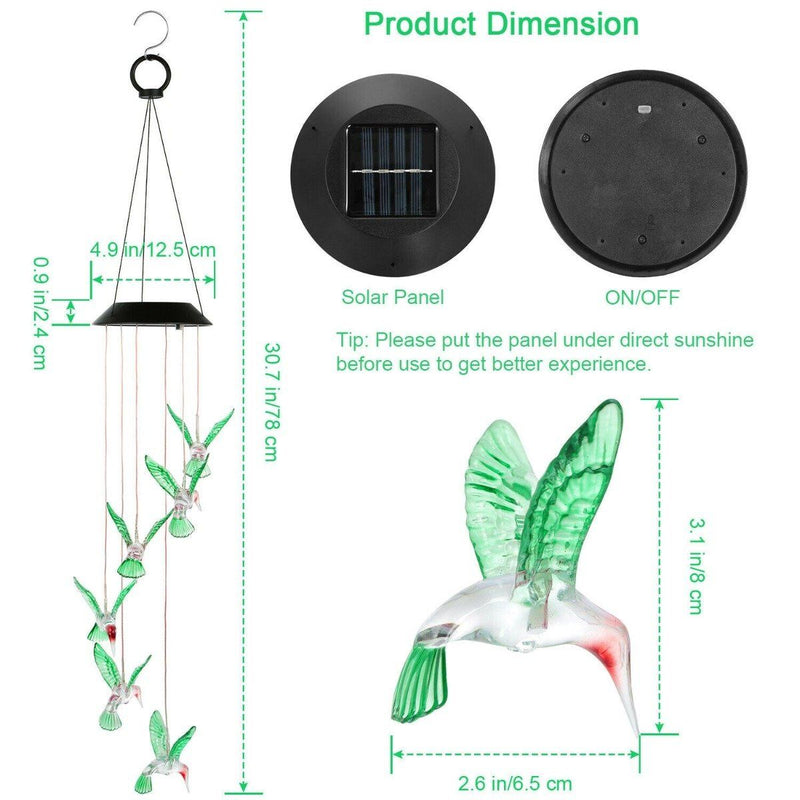 LED Solar String Lights Hummingbird Wind Chime Home Lighting - DailySale