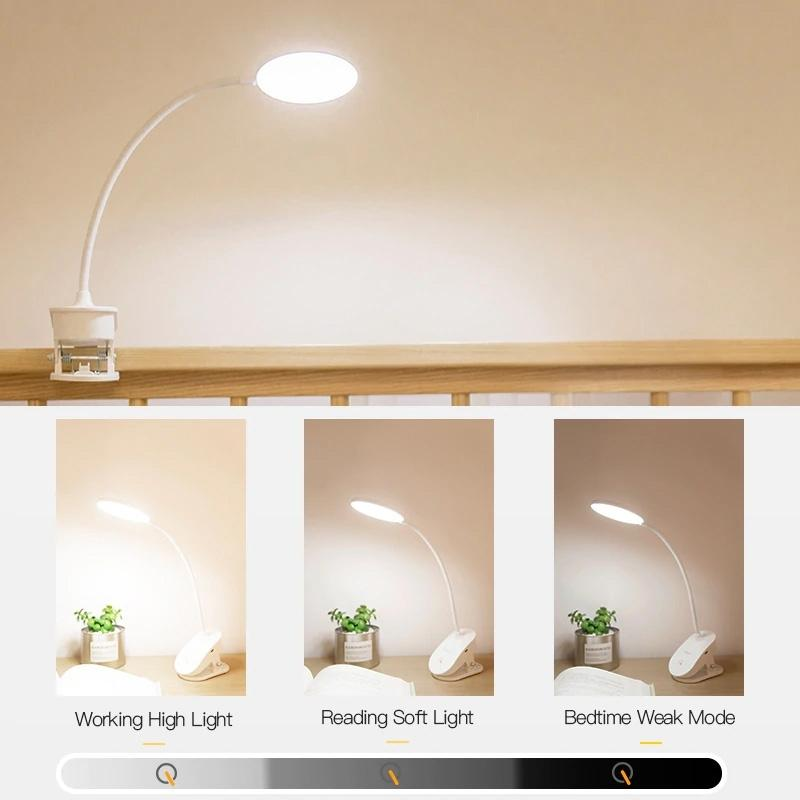 LED Touch On/off Switch with 3 Modes Desk Lamp Clip Home Lighting - DailySale