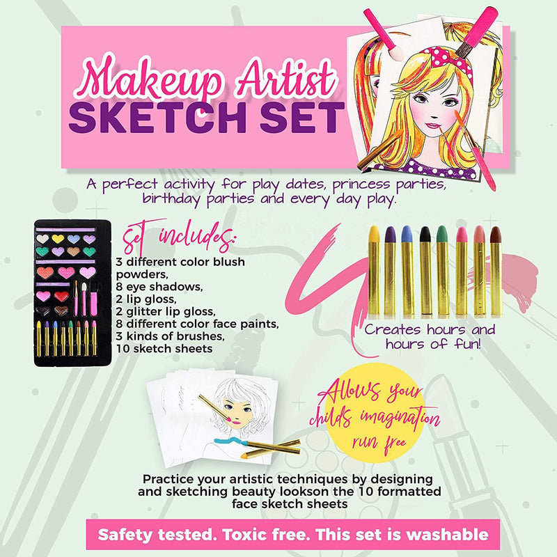 Lil Me Makeup Artist Sketch Set with 10 Design Sketch Sheets Toys & Games - DailySale