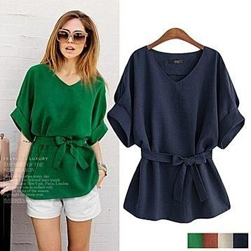 Linen-Blend Loose-Cut Casual Short Sleeve Top with Belt Women's Apparel - DailySale