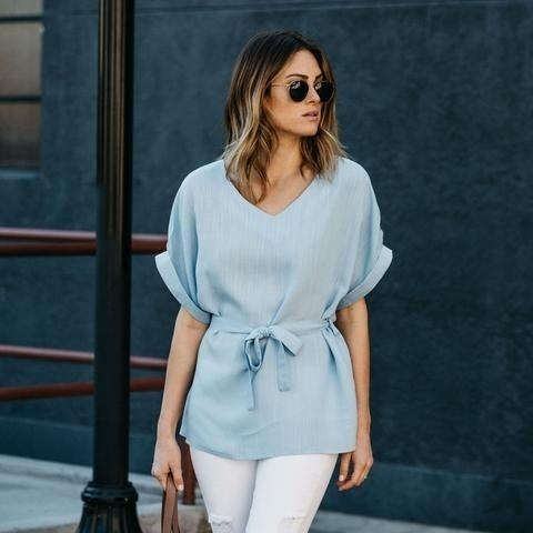 Linen-Blend Loose-Cut Casual Short Sleeve Top with Belt Women's Apparel S Baby Blue - DailySale