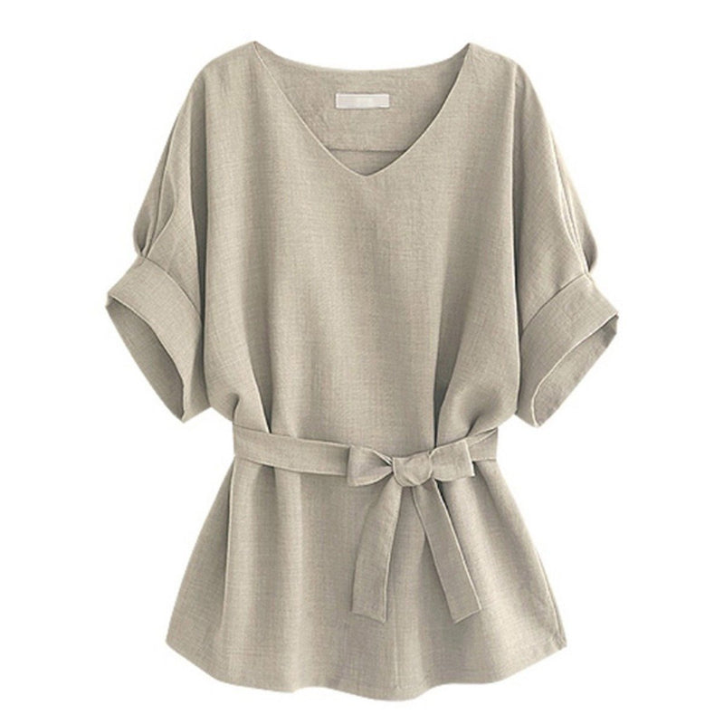 Linen-Blend Loose-Cut Casual Short Sleeve Top with Belt Women's Apparel S Beige - DailySale