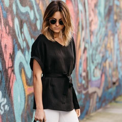 Linen-Blend Loose-Cut Casual Short Sleeve Top with Belt Women's Apparel S Black - DailySale