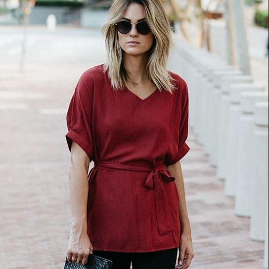 Linen-Blend Loose-Cut Casual Short Sleeve Top with Belt Women's Apparel S Burgundy - DailySale