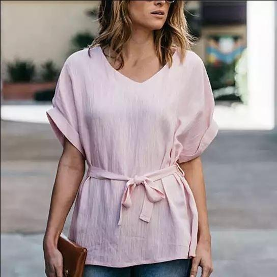 Linen-Blend Loose-Cut Casual Short Sleeve Top with Belt Women's Apparel S Pink - DailySale