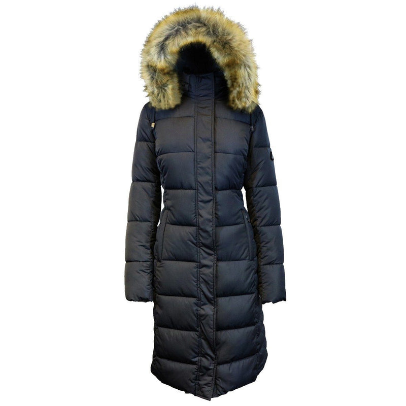 Long Heavyweight Parka Jacket with Faux-Fur Hood Women's Apparel S Black - DailySale