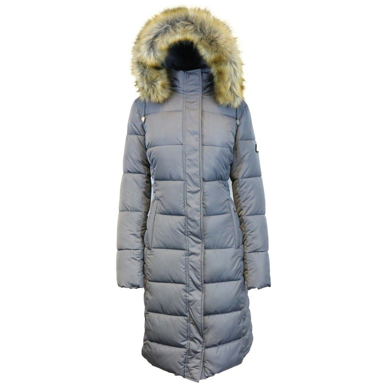 Long Heavyweight Parka Jacket with Faux-Fur Hood Women's Apparel XS Gray - DailySale